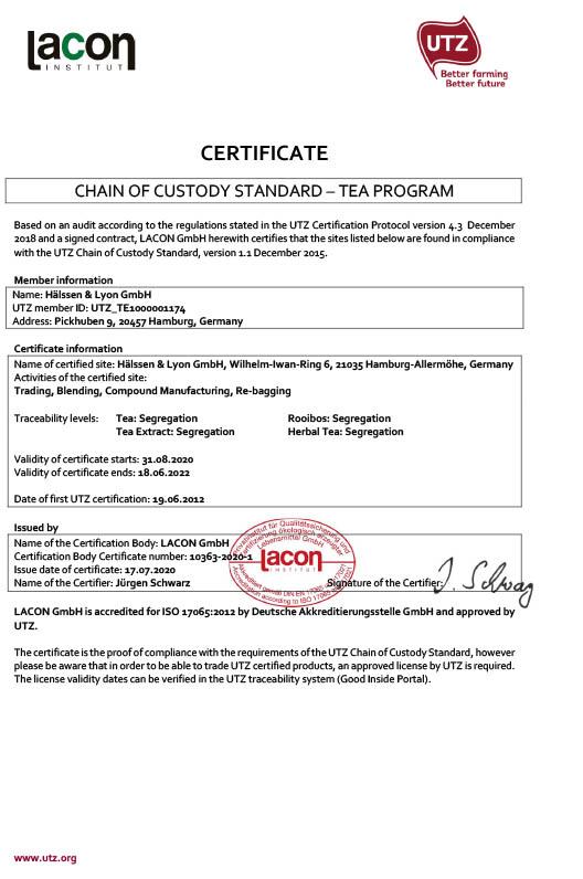 Certificates Hlssen Lyon The World Of Tea Under One Roof